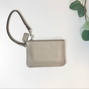 Coach Grey Pebbled Leather Wristlet/Wallet